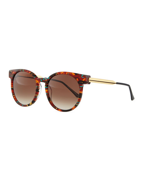 Painty Round Sunglasses with Metal Arms, Blue/Multi