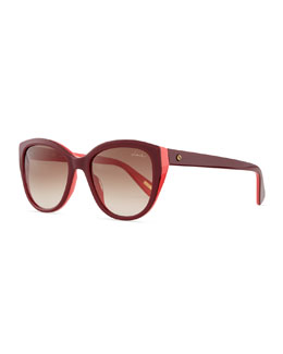 Large Acetate Cat-Eye Sunglasses, Pink