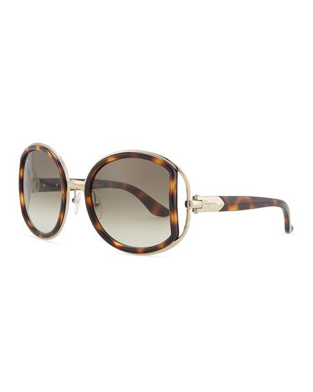 Round Sunglasses with Buckle Detail, Dark Tortoise