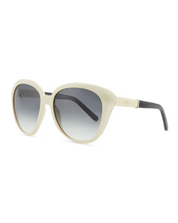 Chloe Oversized Cat-Eye Sunglasses, Cream