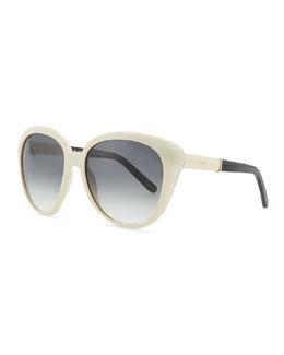Chloe Oversized Cat-Eye Sunglasses, Cream