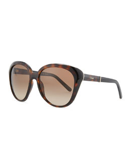 Chloe Oversized Cat-Eye Sunglasses, Tortoise