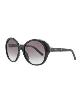 Chloe Round Plastic Sunglasses, Black