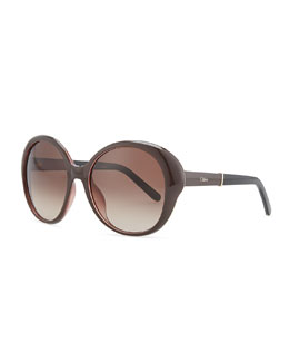 Chloe Round Plastic Sunglasses, Violet