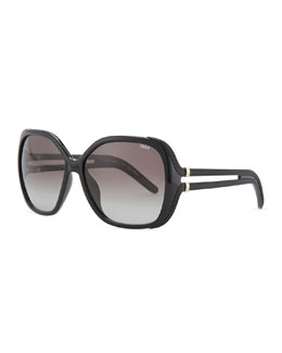 Chloe Acetate Square Sunglasses, Black