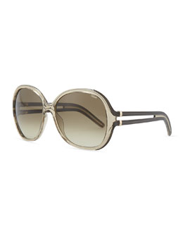 Chloe Clear Acetate Square Sunglasses, Brown