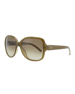 Chloe Acetate Square Sunglasses, Khaki