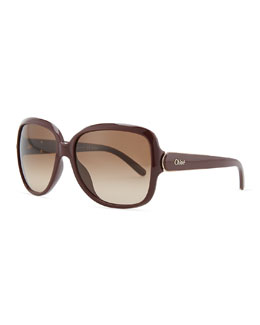 Chloe Acetate Square Sunglasses, Bordeaux