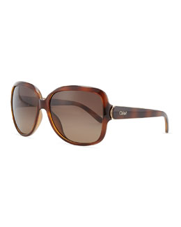 Chloe Acetate Square Sunglasses, Light Havana