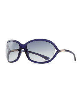 Tom Ford Jennifer Oversized Sunglasses, Blue