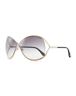 Tom Ford Miranda Wrap Sunglasses, Rose Gold