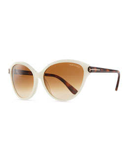 Tom Ford Priscila Cat-Eye Sunglasses, Ivory/Brown Havana