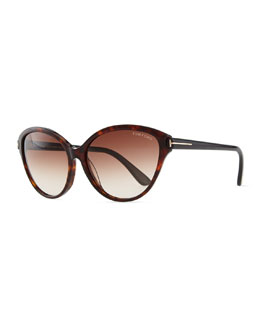 Tom Ford Priscila Cat-Eye Sunglasses, Brown