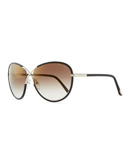 Tom Ford Rosie Oversized X Sunglasses, Brown