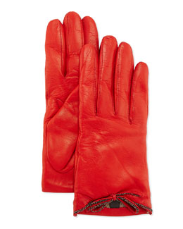 Portolano Leather Driving Gloves with Chain Bow, Red