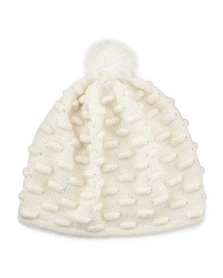 Bumpy Knit Winter Hat with Fur Pompom, White