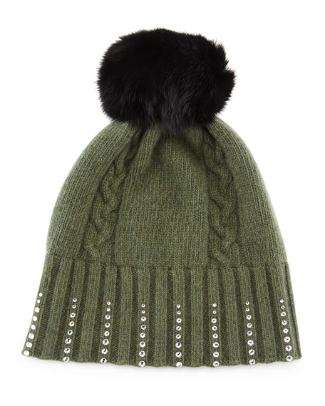 Winter Hat with Crystals & Fur Pompom, Loden Green