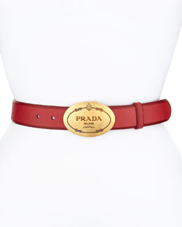 Saffiano Cuir Oval Logo Belt, Red (Fuoco)