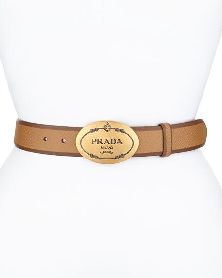 Saffiano Cuir Oval Logo Belt, Caramel