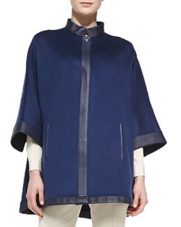 Loro Piana New Montpellier Cashmere Cape, Navy
