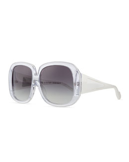 Plastic Square Sunglasses, Clear/White