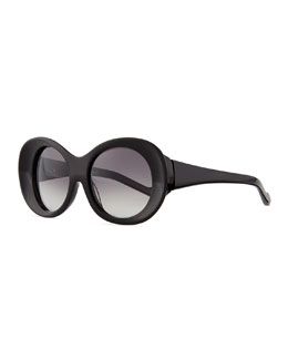 Thick Oval Sunglasses, Black