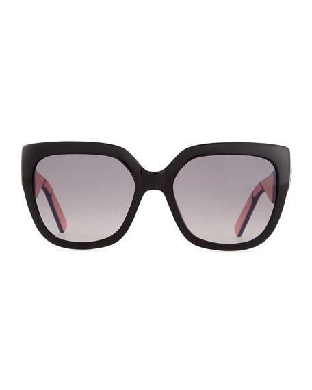 My Dior Cannage-Arm Sunglasses, Black/Purple