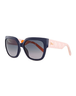Dior My Dior Cannage-Arm Sunglasses, Navy/Pink