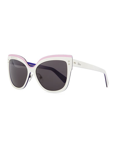 Exquise Cat-Eye Sunglasses, White/Pink