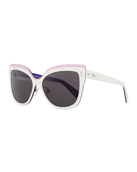Dior Exquise Cat-Eye Sunglasses, White/Pink