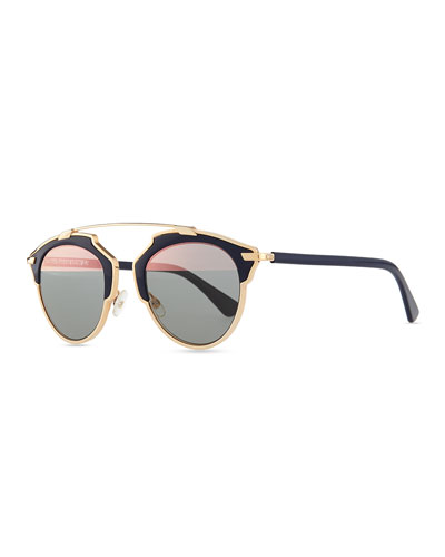 So Real Brow Bar Sunglasses, Dark Blue