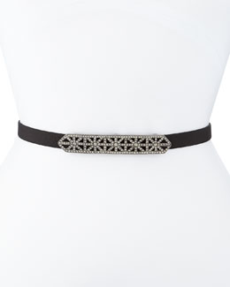 Crystal-Buckle Leather Belt