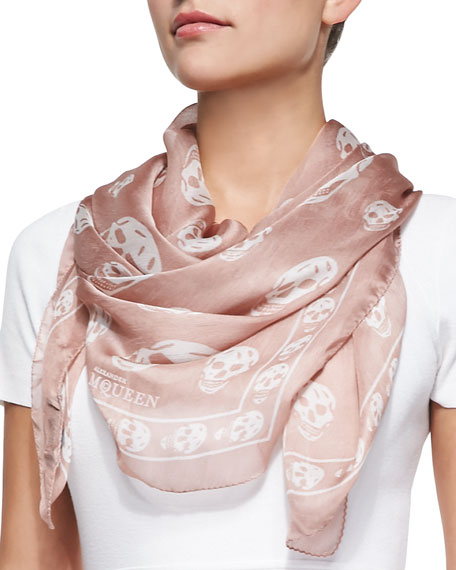 Skull-Print Scalloped Silk Scarf, Rose Mole/Ivory