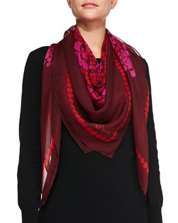 Floral-Print Silk Square Scarf, Pink/Red