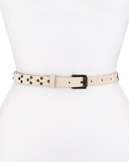 Nubuck Rivet Waist Belt, Black