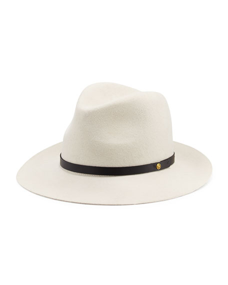 Floppy Brim Wool Fedora Hat, White