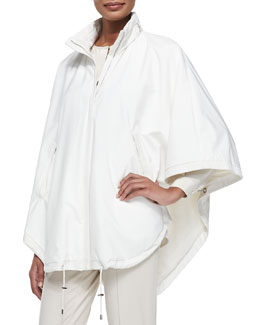 Vail Windstorm Reversible Cashmere Cape, White