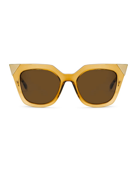 Iridia Flash Sunglasses with Mirror Lens, Gold