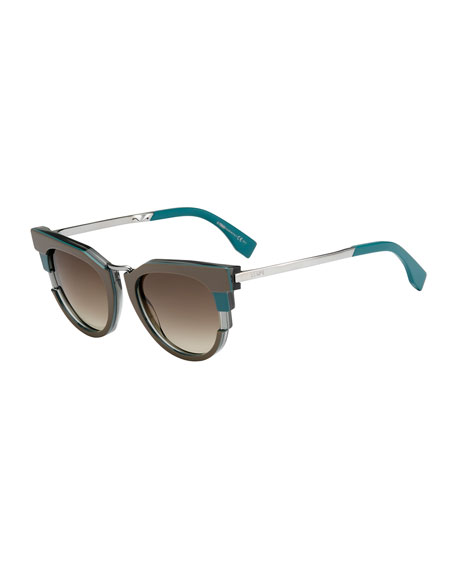 Colorblock Sunglasses, Teal/Gray