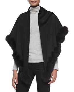 Whip-Stitch Fox Fur Shawl, Black