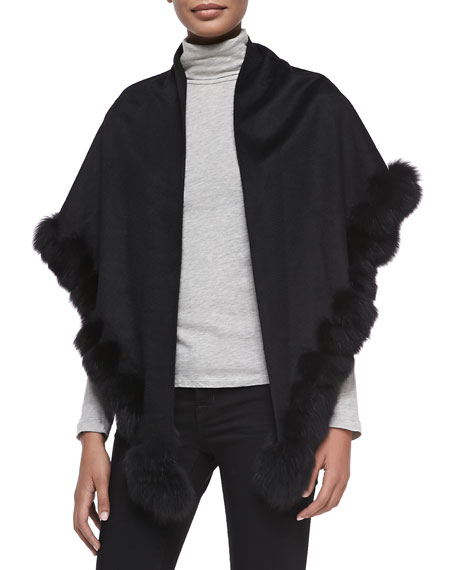 Whip-Stitch Fox Fur Shawl, Black
