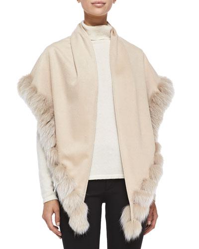 Whip-Stitch Fox Fur Shawl, Blonde