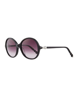 Round Sunglasses with Pearly Hinges, Black