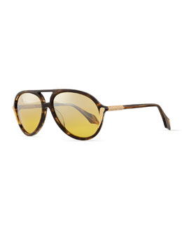 Aviator Sunglasses with Crystals, Tortoise