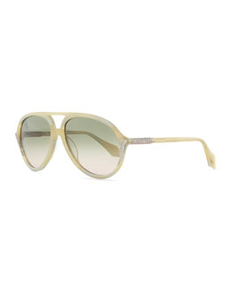 Aviator Sunglasses with Crystals, Ivory