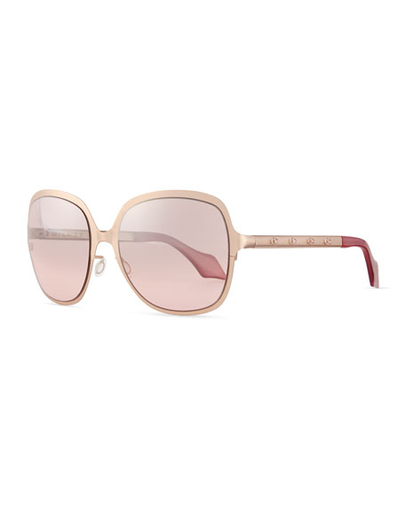 Matte Metal Square Sunglasses with Studs, Pink