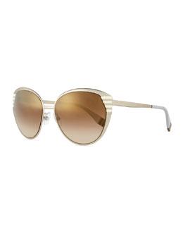 Striped-Temple Metal Sunglasses, Silver