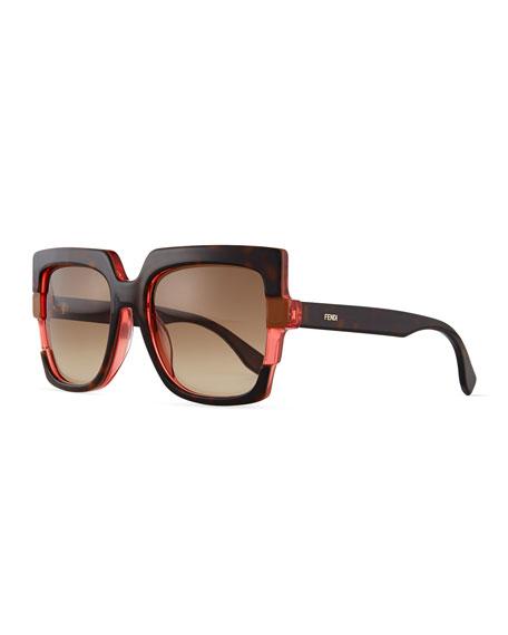 1649277ee4 Fendi Large Square Colorblock Sunglasses