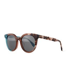 Limited-Edition Colorblock Sunglasses, Light Blue/Havana