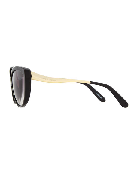 Havana Cat-Eye Metal-Temple Sunglasses, Black